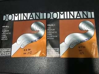Violin Strings Dominant G & D 1/2 sized