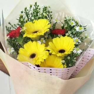 Yellow gerbs bouquets