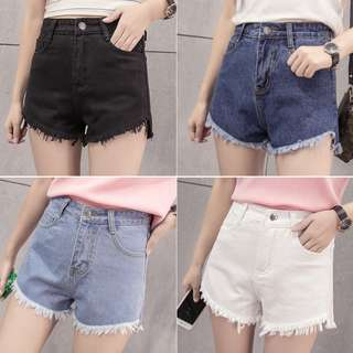 High waist denim shorts  short front long tassel burrs loose A-line wide leg shorts