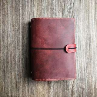 📕📕📕 PREORDER Geninue Leather 🍒Cherry Red 🍒 Midori Styled A7 Planner, Journal with Sleeves