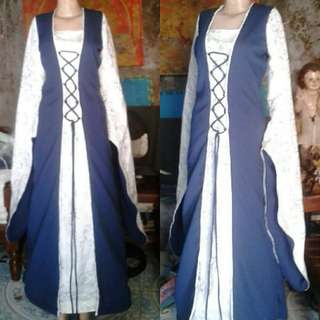 Blue and White Medieval Gown for RENT
