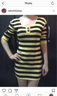 Yellow black bodycon dress