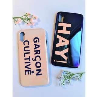 🚚 全新 現貨 藍光英文字 閨密情侶手機殼 藍底 粉底 軟殼 全包 ix 蘋果 手機殼 (2入)