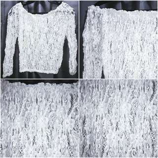 Lace Off-Shoulder Top White - Free size (can fit XS to Medium) - used only twice