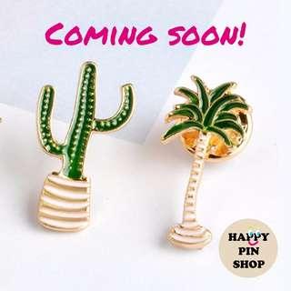 [IN STOCK] Skinny Cactus, Palm Tree Plant Enamel Pins