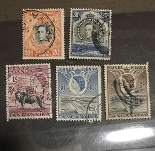 Uganda Kenya Stamps Used Queen Eliz / King George