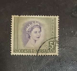 Rhodesia Queen Eliz 5 shillings  Stamp Used (small perf fault)