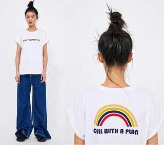 🚚 OshareGirl 05 歐美女士字母印花童趣短袖上衣T恤短T