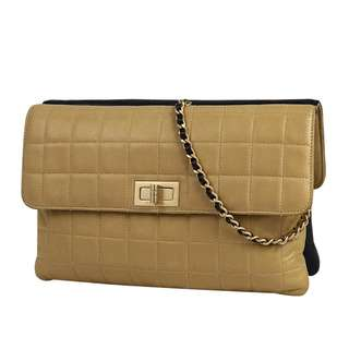 Chanel 2.55 line W face chain handbag  lambskin black camel black beige ladies double sided flap (SHIP FROM JAPAN)