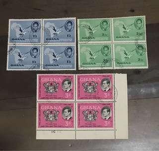 Ghana Block Of 4 stamps - 3 blocks !