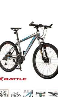 "Battle 580-D 26"" 30-Speed Alloy Mountain Bike Hydraulic DB ( Satin Pearlized Gray/Blue)"