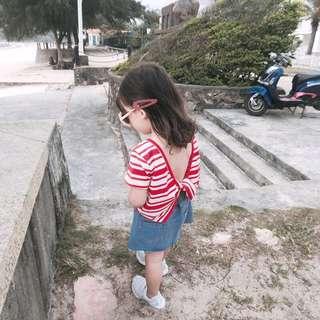🚚 春夏新款 韓版女童小心機扭結露背上衣