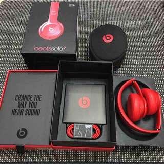 Beats solo 2 耳機 耳罩式耳機 紅色