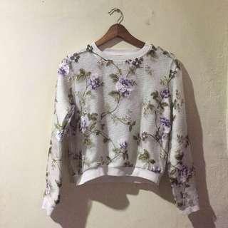 Pastel Organza Knitted Sweatshirt