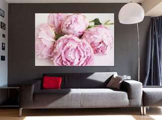 Peonies flower canvas print framed ready to hang