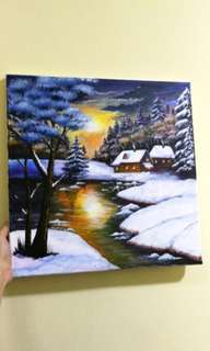 Acrylic Painting_Snowing Landscape