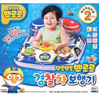 (Free Delivery) Pororo The Little Penguin Police Car Inflatable Baby Float Swim Ring Seat with with Steering Wheel