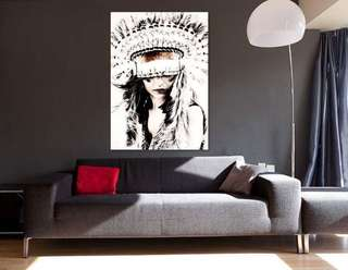 Indian feather canvas print framed ready to hang