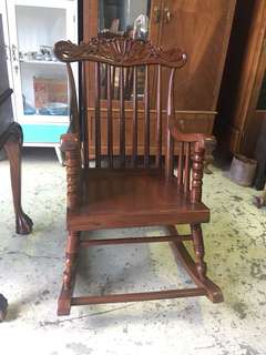 Vintage teakwood rocking chair