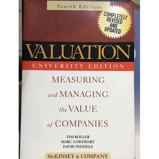 Valuation:Measuring and Managing the Value of Companies 4th ed.  Koller, Goedhart and Wessels (McKinsey & Company)  Wiley 2005