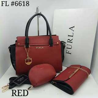 Furla 3 in 1 Tote Bag Red Color