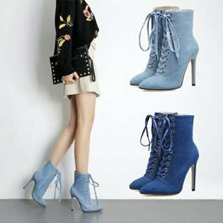 Jeans High Heel Ankle Boots