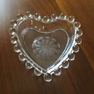 Clear Glass Hobnail Heart Shaped Dish
