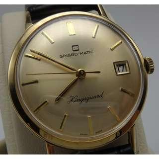 60`s 年代 ~ 瑞士名錶 真時保 GINSBO-Kingsguard  香檳面 自動 日歷 男裝18K金錶