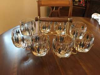 8 Mad Men Roly Poly Glasses with Caddy