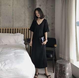Black V Casual Dress