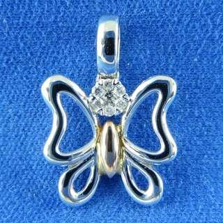 KALVION 14K/585 白及玫瑰色黃金鑽石吊墜 ‧ 玉斑鳳蝶