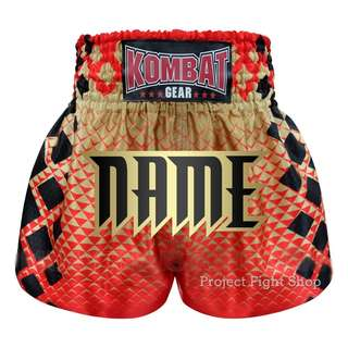 Customize Kombat Gear Muay Thai Boxing MMA Boxing Shorts Red Triangles Gradient Gold With Black Squares