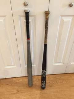 Two Baseball Bats, one Wood and one Aluminum