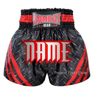 Customize Kombat Gear Muay Thai Boxing MMA Shorts Black Steel With Red Stripes