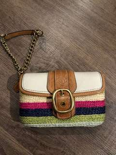 Authentic Coach spring straw clutch
