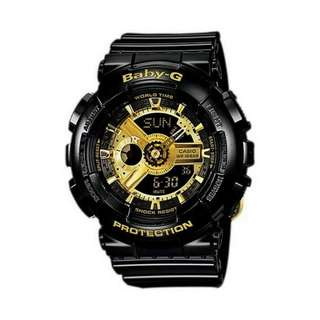 ⌚OEM CASIO THAILAND BABY G BA110-1A BLACK / GOLD⌚
