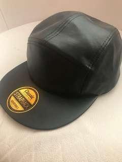 Leather black hat