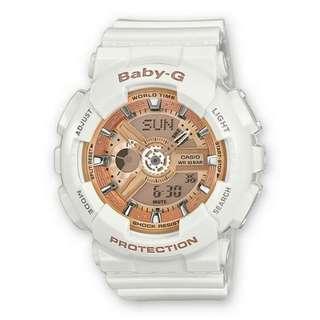 ⌚OEM CASIO THAILAND BABY G BA110-7A1ER WHITE ROSE GOLD⌚
