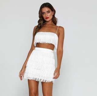 MESHKI FRINGE SET white skirt and top
