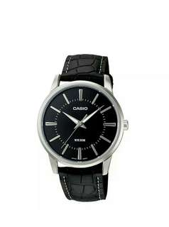 Original casio watch for men with genuine leather band