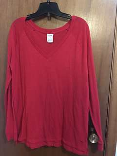 PINK red V-neck long sleeve Size S