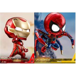 Marvel Avengers 3復仇者聯盟3 鐵甲奇俠Iron Man + 蜘蛛俠 Spider-man Hot Toys COSBABY迷你珍藏超級英雄
