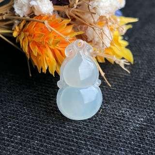 Icy A-Grade Type A Natural White Jadeite Jade Calabash (Hulu) Pendant No.170421