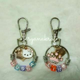Name Keychain With Hello Kitty & Crown Charm
