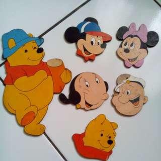 #tisgratis hiasan dinding kayu Winnie the pooh, Mickey mouse, Minnie mouse, Popeye, Olive