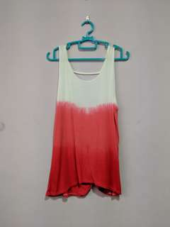 Red ombre muscle tank