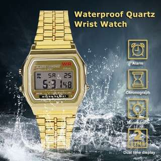 LED digital waterproof quartz watch dress golden watch