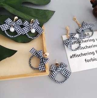 🔥 Black Tartan checkered plait heart gold chain pearl earrings