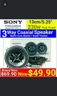 "Car Speaker - SONY 5.25""/13cm size 3 Way SPEAKER(230 Watts Peak Power) Woofer type Speaker + Built-in Super Tweeter. Usual Price: $ 69.90. Special Price: $49.90 ( Brand New In Box  & Sealed) whatsapp 85992490 for same day collection"