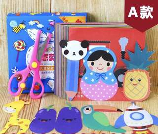 Little Paper Art Cutting - HJT431  Per set contain 100 sheets  Printed color in both side  Size: 14*14cm  Come w one kid safe scissor in random color   Suitable for kiddo 3-6yo  Design: as attach photo